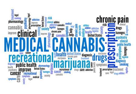 Medical cannabis word cloud collage. Prescription cannabis concepts text cloud. Reklamní fotografie