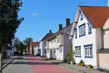 Stavanger city, Norway. Local residential street with typical Nordic wooden houses. Stock fotó
