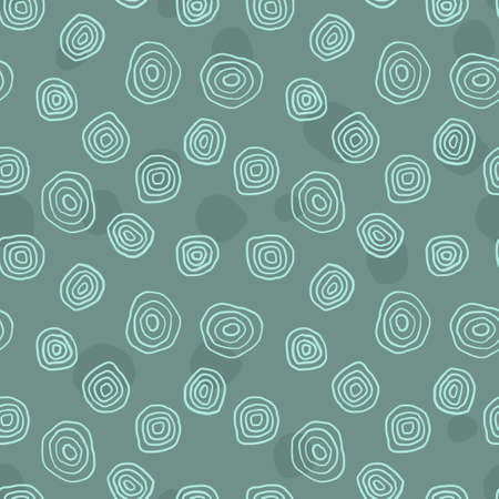 Textile print seamless pattern. Vector design with hand drawn sketchy circles. Bermuda green color.