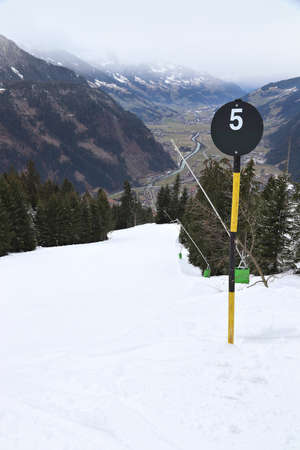 Black ski run in Austria. Ahorn mountain in Mayrhofen. High difficulty.