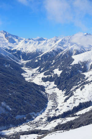 Austria mountains winter wonderland - Mayrhofen ski resort in Tyrol. Austrian Central Alps. 写真素材