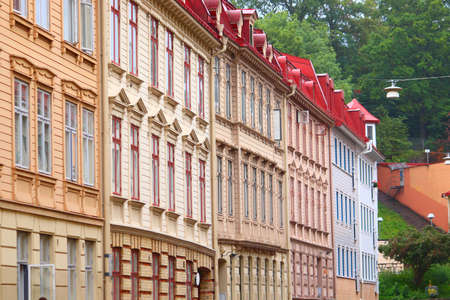 Gothenburg city in Sweden. The Hague district Old Town street view. Stock Photo