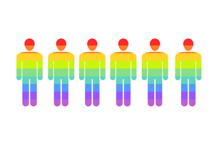 LGBT rainbow people silhouettes - isolated symbols vector. LGBTQ rights solidarity concept.
