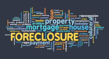 Foreclosure concept. Real estate issues: foreclosure word cloud sign.