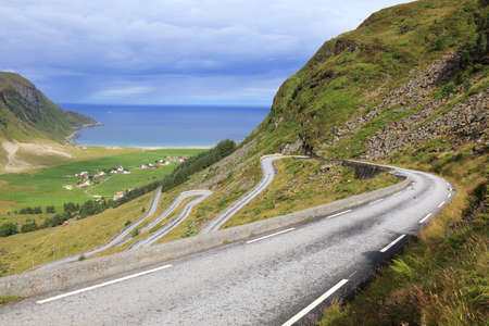Norway winding road. Landscape of Hoddevik in Stadlandet peninsula, Norway.