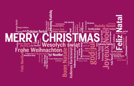 Merry Christmas message sign. International Christmas wishes in many languages including English, French, Portuguese, Polish and Spanish.