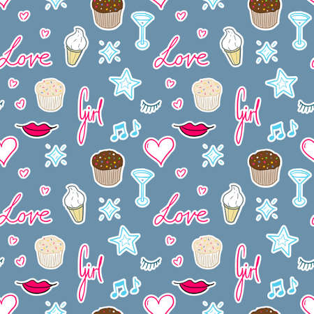 Cute girly vector pattern. Feminine doodle seamless texture pattern.