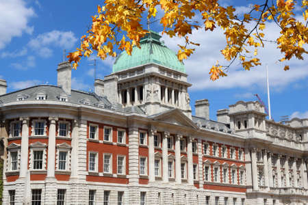 London, UK - Admiralty House. One of Whitehall government buildings. Autumn leaves.