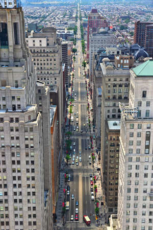 PHILADELPHIA, USA - JUNE 11, 2013: Aerial view of South Broad Street in Philadelphia. As of 2012 Philadelphia is the 5th most populous city in the US with 1,547,607 citizens.