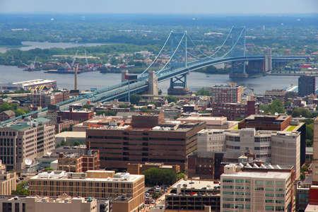 Benjamin Franklin Bridge in Philadelphia, USA. Delaware River crossing.