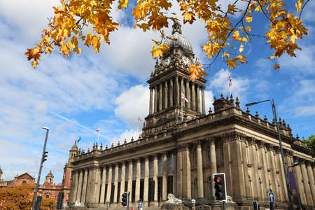 Leeds Town Hall in the UK. Autumn leaves.