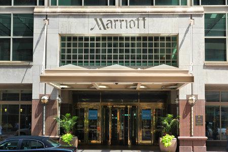 PHILADELPHIA, USA - JUNE 11, 2013: Marriott hotel in downtown Philadelphia. Marriott International has 1.2 million rooms in 127 countries.