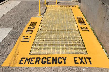 Emergency exit in sidewalk - underground escape route in Philadelphia, USA.