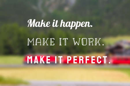 Make it happen sign. Startup encouragement motivational quote poster. Success motivation sign. 版權商用圖片