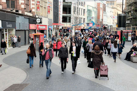 LIVERPOOL, UK - APRIL 20, 2013: People shop at Lord Street, Liverpool, UK. Liverpool City Region has a population of around 1.6 million people and is one of largest urban areas in the UK. Sajtókép