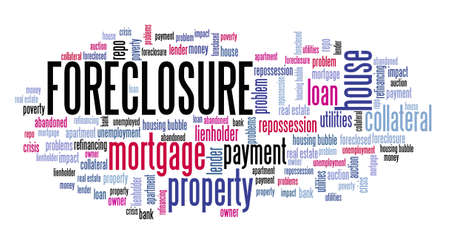House foreclosure concept. Real estate issues: foreclosure word cloud sign. Stock fotó