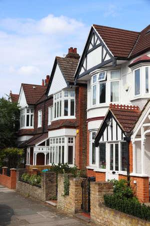 Kew, London. Houses street view in residential district of London UK.