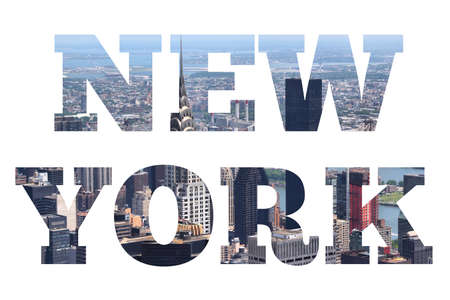 New York sign - city name with background travel postcard photo.