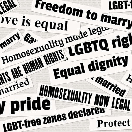 Gay rights and LGBT equality newspaper titles. News headline collection vector.