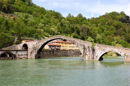 Ponte della Maddalena - important medieval bridge in Italy. Part of historical Via Francigena trade route in Tuscany. Also known as Devil's Bridge.