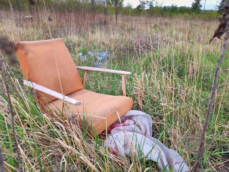Armchair abandoned in forest in Poland. Illegal garbage.