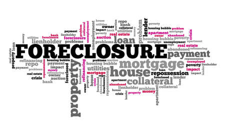 Foreclosure concept. Real estate issues: foreclosure word cloud sign. Stock fotó