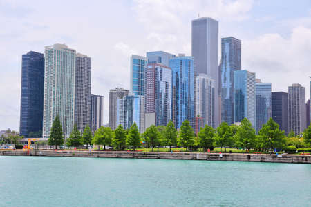 Chicago city skyline seen from Lake Michigan. New Eastside district. United States urban view.
