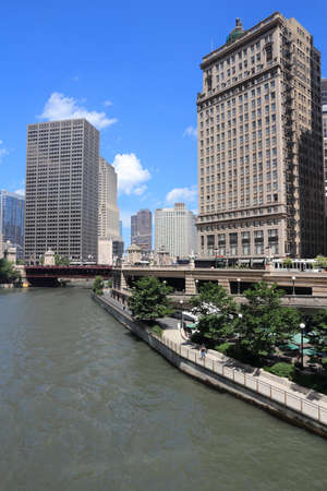 Chicago River skyline - city view of The Loop.