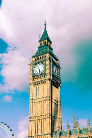 Big Ben - landmark of London, UK. Retro filtered color style.