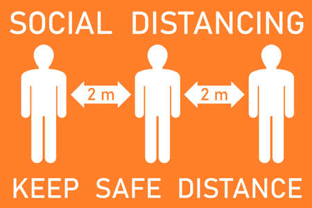 Social distancing vector sign. Keep safe distance. White and orange. Covid-19 pandemic safety.