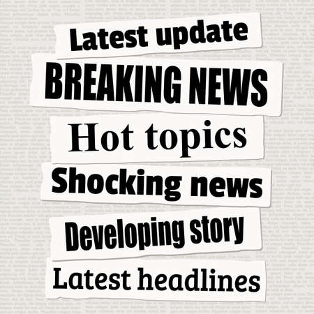Breaking news headline collection. Vector illustration for newspaper titles.