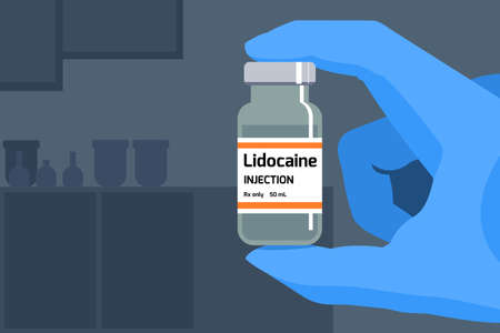 Lidocaine anesthetic drug. Medical science. Bottle of drug. Pharmaceutical industry research concept.