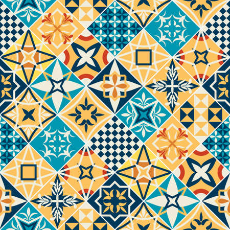 Colorful tiles patchwork pattern design. Spanish or French style (Provence region) vector illustration texture.