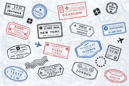 World passport stamp collection. Vector illustration old style travel passport stamps. Novelty stamps (not official versions).