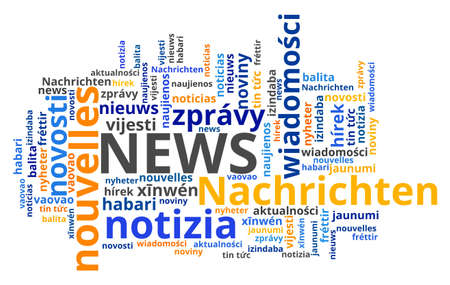 News word translated in different languages. News international translation text collage.