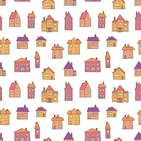 Town background. Seamless cute town vector pattern. European town.