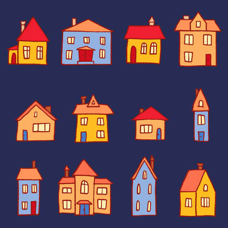 Town homes vector collection. Cute cartoon style home set.