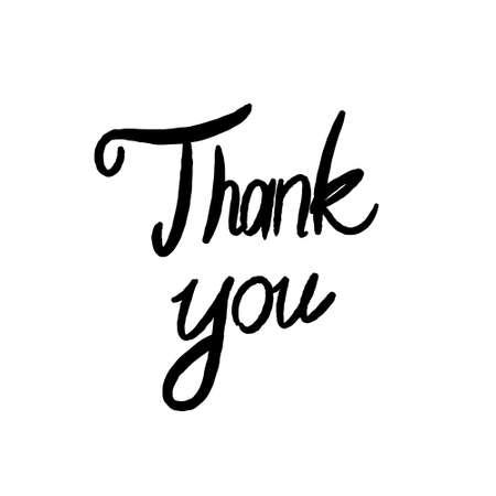 Hand written thank you vector sign