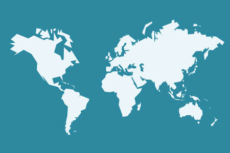 World map vector. Sharp polygonal (low poly) geometric style simple vector.