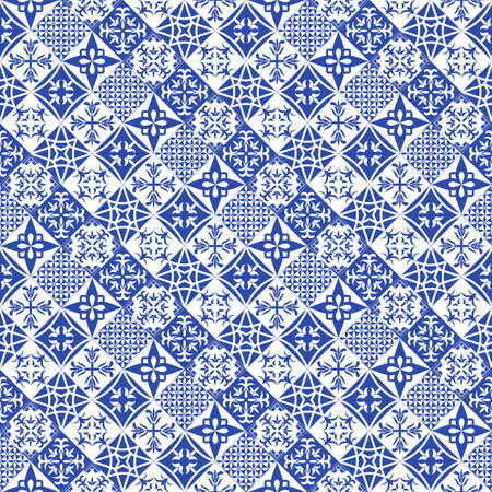 Portuguese style tiles background. Blue azulejos tiles from Portugal.