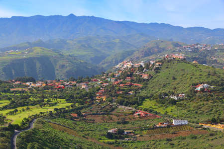 Santa Brigida in Gran Canaria. Agriculture and golf course landscape. Countryside of Gran Canaria. Stock fotó