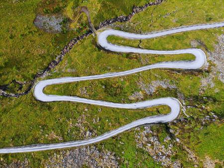 Norway winding road drone view. Landscape of Hoddevik in Stadlandet peninsula, Norway.