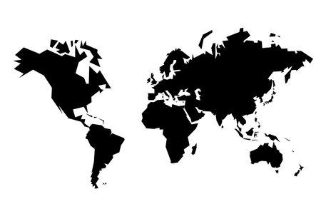 World map vector. Sharp polygonal geometric style simple vector.