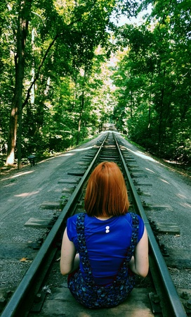Attempting suicide on railroad Stock Photo