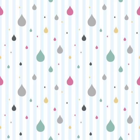 Kleurrijke regendruppels achtergrond. Naadloos patroon. Vector.