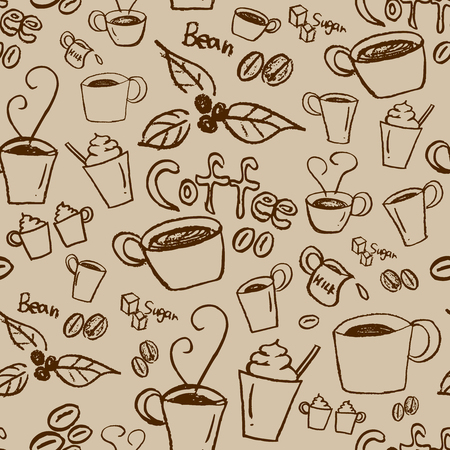 Coffee illustration background. Seamless pattern. Vector.