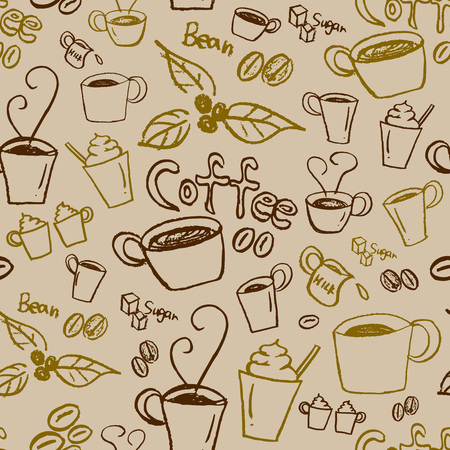 brown sugar: Coffee illustration background. Seamless pattern. Vector.
