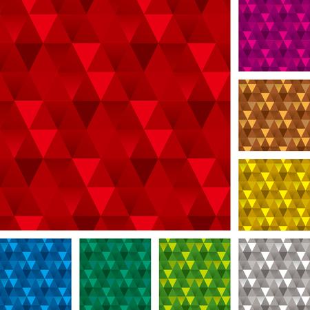 Seamless patterns set, triangle backgrounds 向量圖像