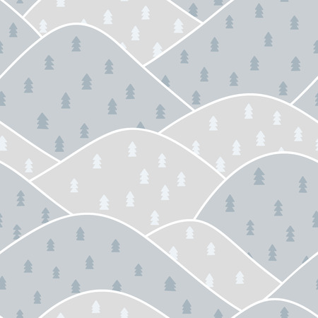 drywood: Winter mountain background. Seamless pattern. Vector.