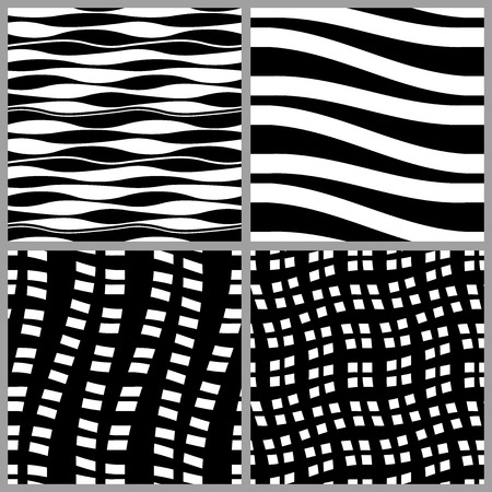 Wavy seamless patterns set, black and white backgrounds collection.
